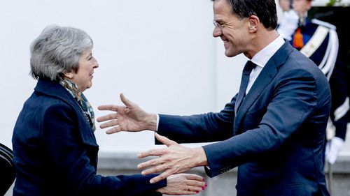 British Prime Minister Theresa May receives a warm welcome by her Dutch counterpart Prime Minister Mark Rutte in The Hague.