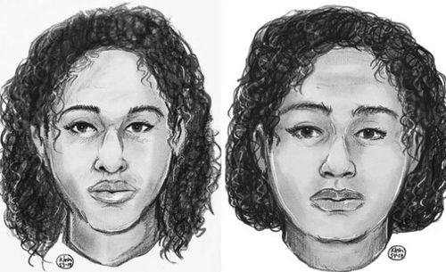 These sketches of the sisters were released by police after their bodies washed up on the New York waterfront last week.