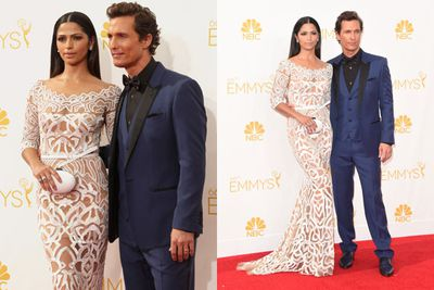 <i>True Detective</i>'s Matthew McConaughey is one lucky guy! Wife Camila Alves basically wore a sexy doily with see-through cut-outs.