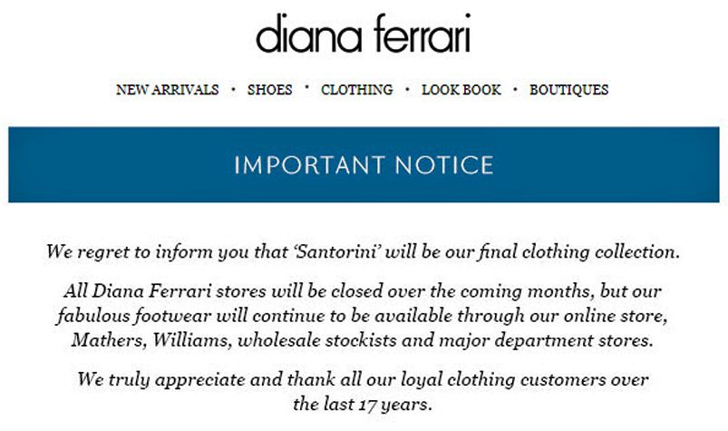 Munro Footwear Group closes majority of Diana Ferrari stores