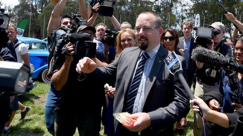 Ricky Muir refused to answer questions on higher education today. (9NEWS)