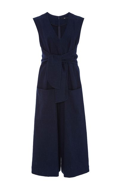 "<a href=""https://www.modaoperandi.com/tibi-r16/delave-cotton-tie-front-jumpsuit"" target=""_blank"">Jumpsuit, $495, Tibi at modeoperandi.com</a>"