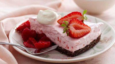 """Recipe:<a href=""""http://kitchen.nine.com.au/2016/05/05/16/12/strawberry-cloud-cake"""" target=""""_top"""">Strawberry cloud cake</a>"""