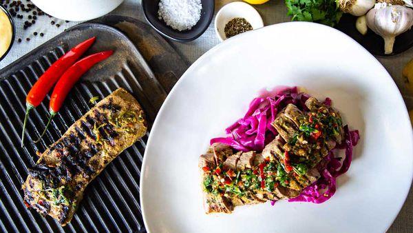 The Tartaglia's coriander lamb backstrap and pickled cabbage