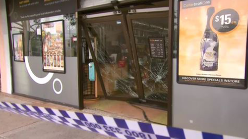 A car has reversed through the front doors of a liquor store in an early morning ramraid in Melbourne's south-east.