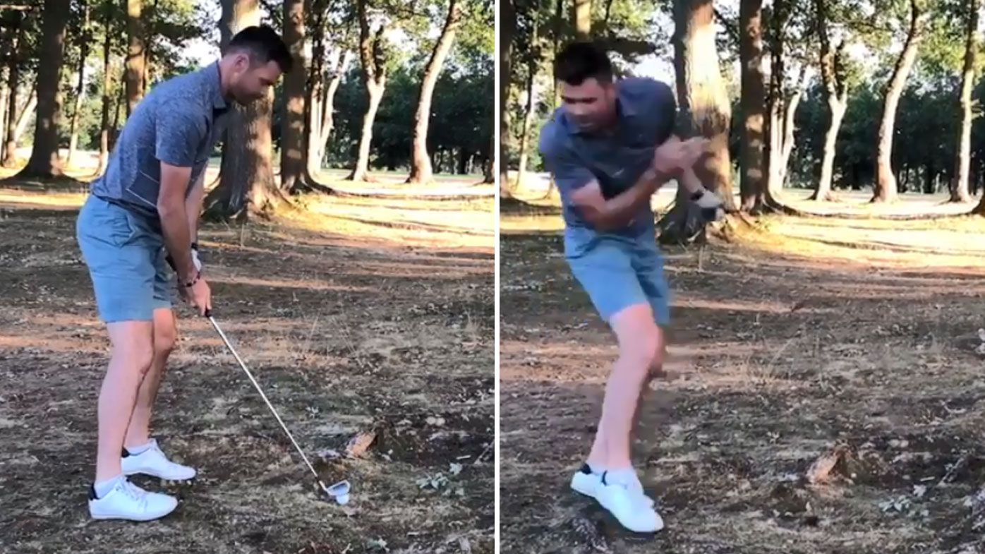 England bowler James Anderson hit by golf ball