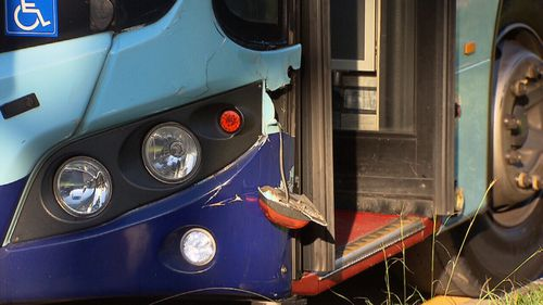 Damage to the bus after it hit a pedestrian at Roselands on May 3. (9NEWS)