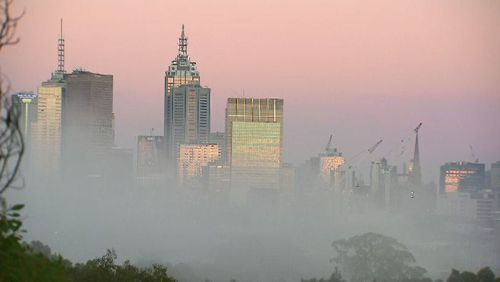 Fog hovered around Melbourne's CBD until around 7.30 today. Picture: 9NEWS