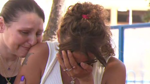 Lacey Harrison broke down while updating reporters on her daughter's condition today. (9NEWS)