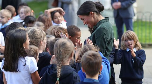 Meghan has impressed onlookers with her affectionate nature when meeting children on royal walkabouts.