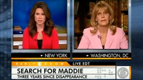 US criminal profiler Pat Brown (right) appears on TV network CBS to discuss the Maddie McCann case in 2010. Source: CBS
