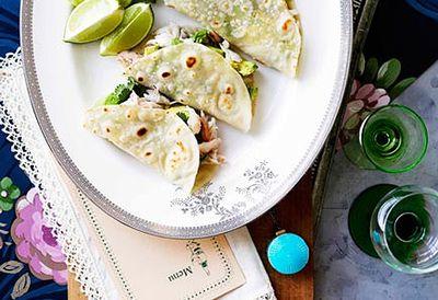 Crab and avocado tortillas