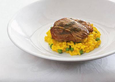 "Recipe: <a href=""http://kitchen.nine.com.au/2016/05/17/14/25/veal-saltimbocca-with-risotto-milanese"" target=""_top"">Matt Moran's veal saltimbocca with risotto Milanese</a>"