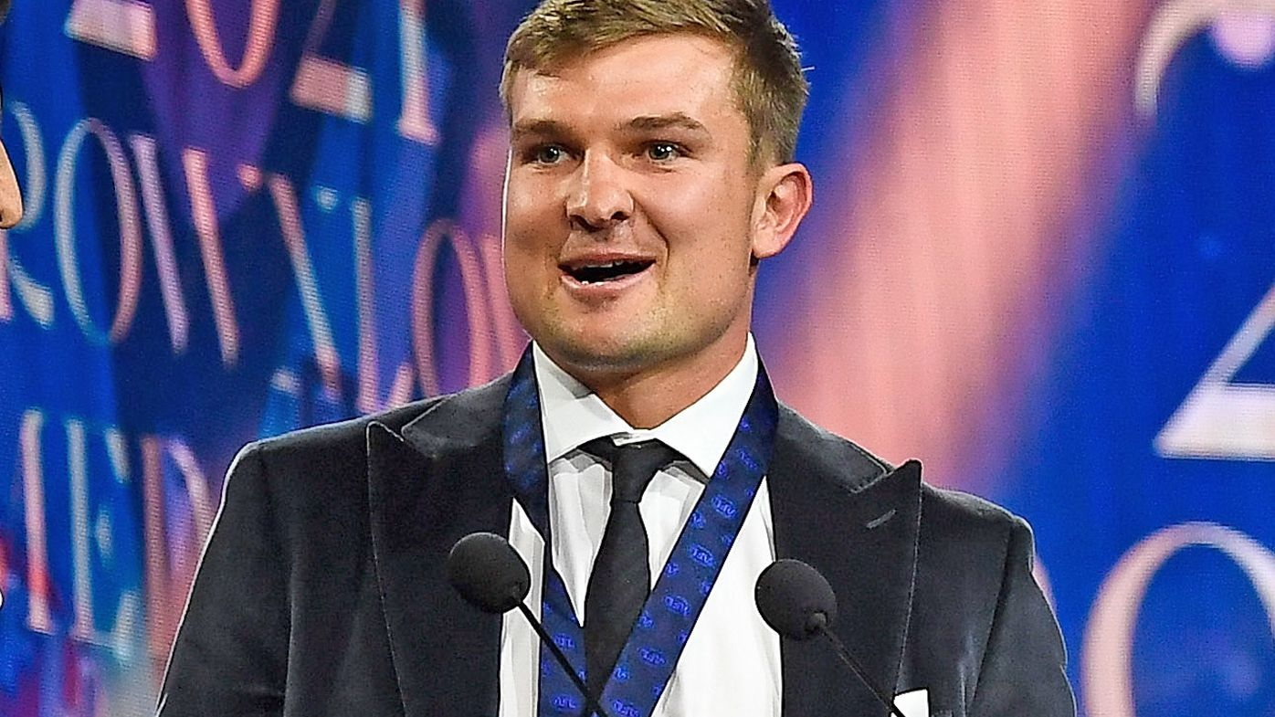Ollie Wines is interviewed after being presented the Brownlow Medal
