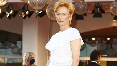 Tilda Swinton arrives at the opening ceremony of the 2020 Venice Film Festival.