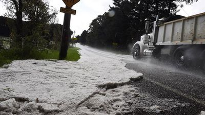 Drifts of hail formed on some roads. (Instagram: @nampix)