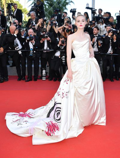 Actress Elle Fanning in Vivienne Westwood at the 2017 Cannes Film Festival