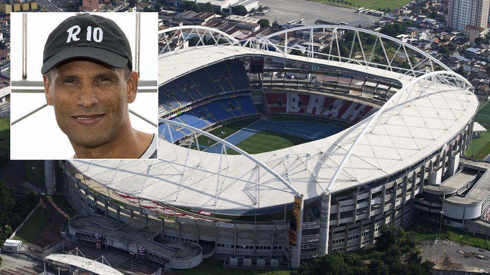 Brazilian football great Rivaldo (inset) and the Rio Olympics stadium. (Getty)