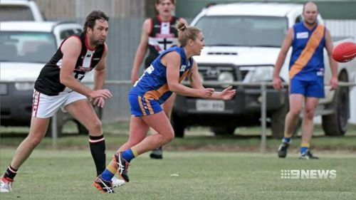190604 South Australian football club fined woman playing men's league sport news NH CROP