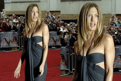 Jen shows under-boob at <i>The Break-Up</i> premiere in 2006.
