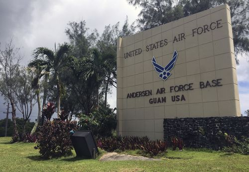 The front entrance sign for Anderson Air Force base is seen in Yigo, Guam. (AAP)