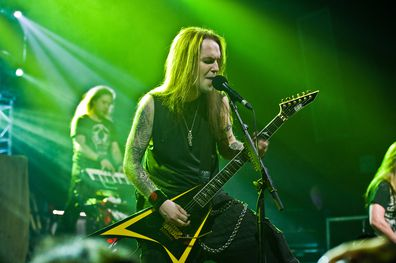 Alexi Laiho of Children of Bodrom performs at Le Bataclan on May 2, 2011 in Paris, France.