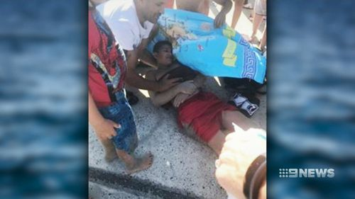 The boy suffered a gash to his chest. (9NEWS)