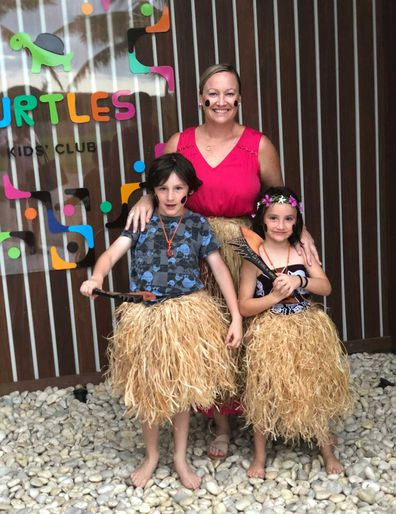 Kids club grass skirt cultural lessons