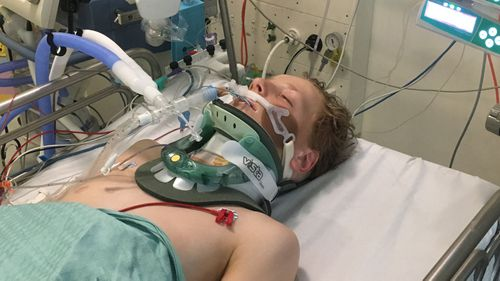 The 12-year-old's spinal cord was damaged, not severed. But for two the first two months in ICU, he struggled to breathe. (Supplied)