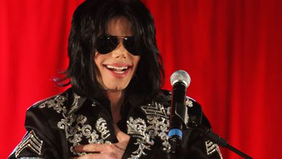 Michael Jackson at a press conference in London, England in 2009.