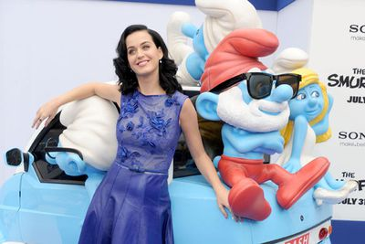Katy Perry with Papa Smurf.