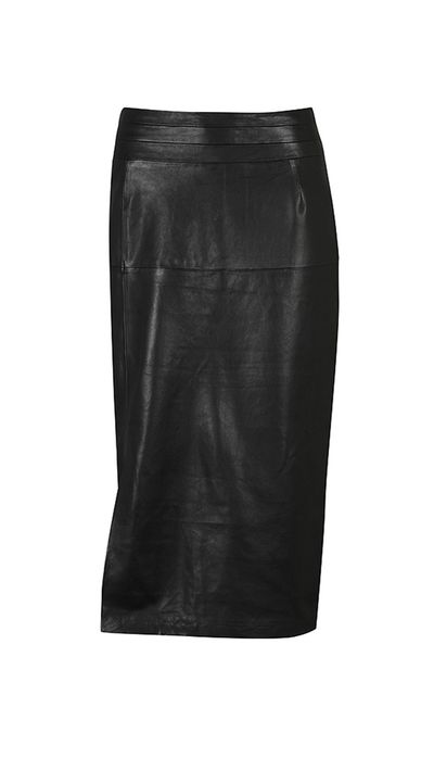 "<a href=""https://morrisonshop.com/leather/eka-pencil-skirt.html  "" target=""_blank"">Eka Leather Pencil Skirt, $599, Morrison</a>"
