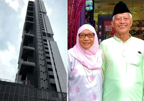 The 35-storey Spottiswoode 18 condominium; Nasiari Sunee, pictured with his wife, died after being hit in the head with a wine bottle allegedly thrown from the high-rise's 7th floor.