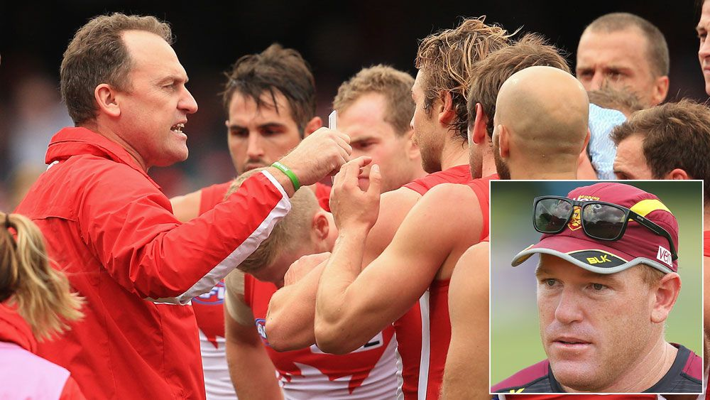 John Longmire addresses his players and (inset) Justin Leppitsch. (Getty)