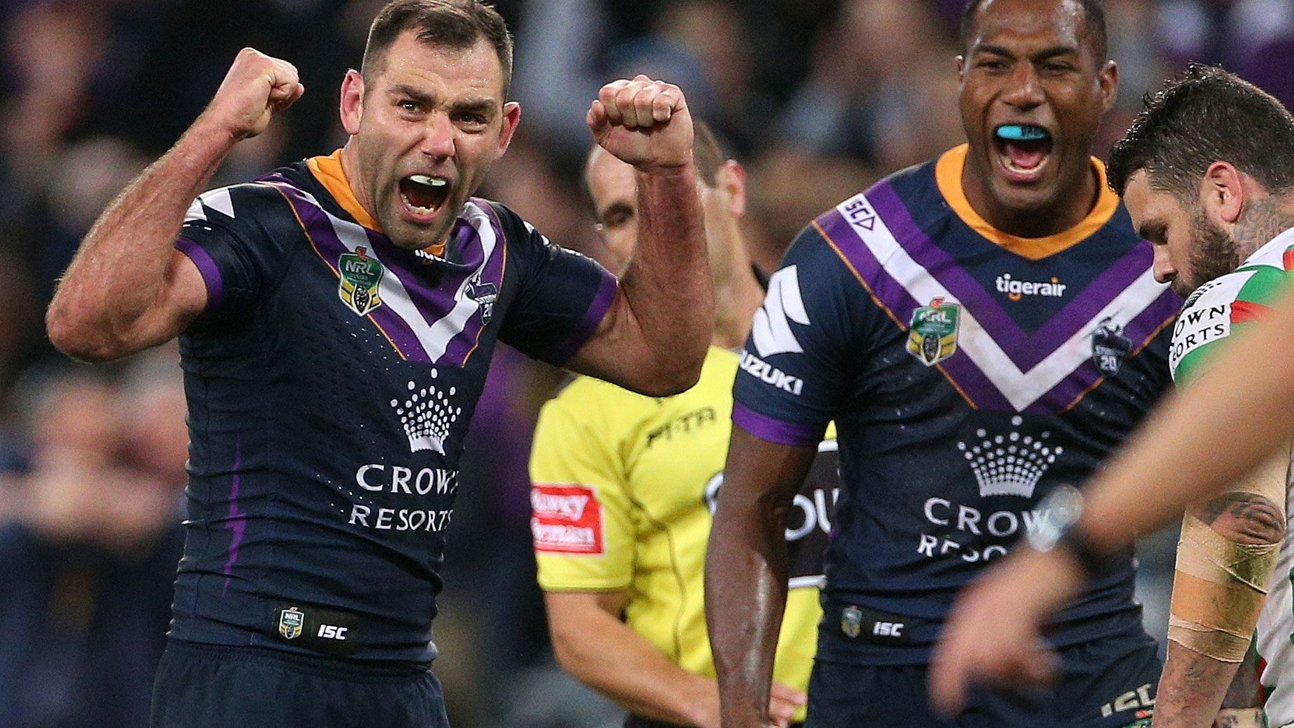 Cameron Smith celebrates the Storm's finals win.