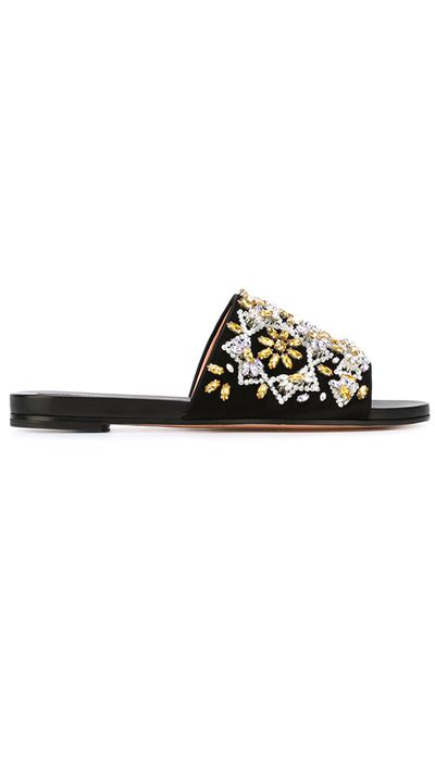 "<a href=""http://www.farfetch.com/au/shopping/women/Rochas-rhinestone-embellished-sliders--item-11105468.aspx"" target=""_blank"">Slides, $1102, Rochas at farfetch.com</a>"