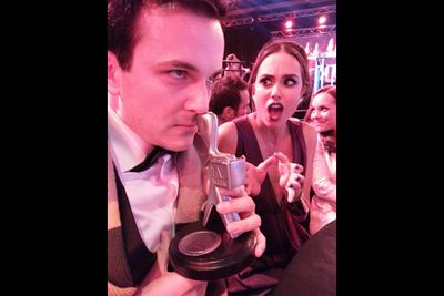 "While <i>Good Game</i>'s Steven ""Bajo"" O'Donnell picked his nose with Dance Academy's Logie - much to the dismay of ABC3 presenter Amberly Lobo.<br/><br/>(Image: Bajopants/Twitter)"