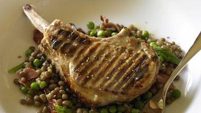 """<a href=""""http://kitchen.nine.com.au/2016/05/17/18/27/pork-cutlets-on-lentils-and-pancetta"""" target=""""_top"""">Pork cutlets on lentils and pancetta<br> </a>"""