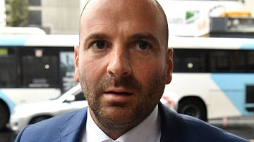 George Calombaris outside court in 2017.