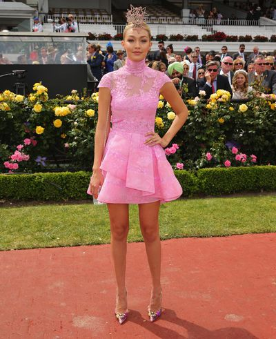 It girl Gigi Hadid was just landing on Australia's radar when she fizzed in pink Alex Perry as a guest of Emirates at the Melbourne Cup in 2014.
