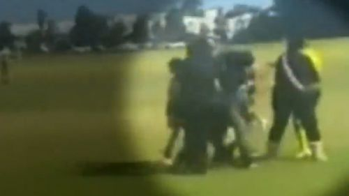 The alleged attack was captured on video.