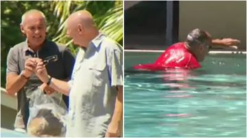 Chris Dawson spent the day cleaning the pool, less than 24 hours after being released on bail.