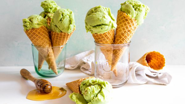Green avocado ice cream