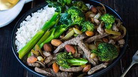 Beef broccolini and almond stir fry