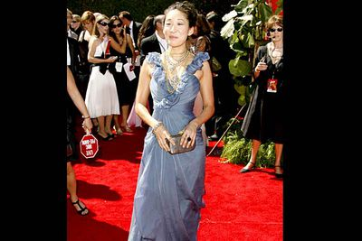 <b>Where she wore it:</b> The 58th Annual Primetime Emmy Awards, 2006.<br/><br/><b>The look:</b> In 2006 the <i>Grey's Anatomy</i> cast was yet to gets it fashion act together, and Sandra rocked up to the Emmys in this weird silvery thing. Luckily, she and Katherine both looked stunning in subsequent years.
