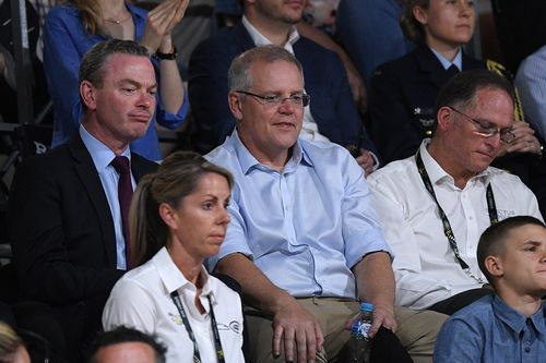 Mr Morrison took in the wheelchair basketball final with Christopher Pyne this afternoon.