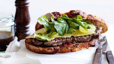 "Recipe: <a href=""http://kitchen.nine.com.au/2016/05/17/10/30/ploughmans-steak-sandwich"" target=""_top"">Ploughman's steak sandwich</a>"