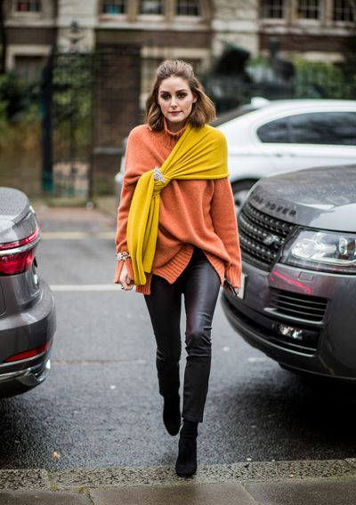 Olivia Palermo's colour blocking is brilliant but the leather pants are the look you need now