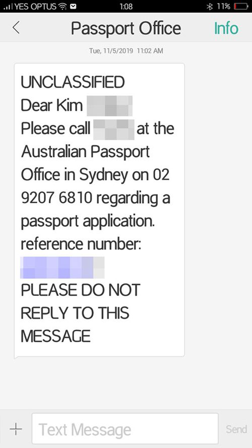 The text message Wendy says was sent to her while on the phone to the Passport Office about the spelling error.