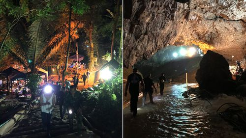Musk visited the cave site before the rescue operation was carried out. Picture: Twitter/Elon Musk